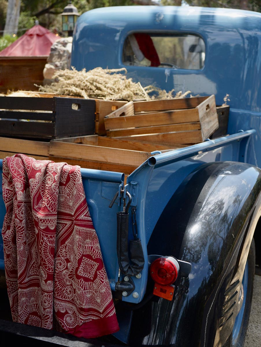 fabric in bed of antique truck
